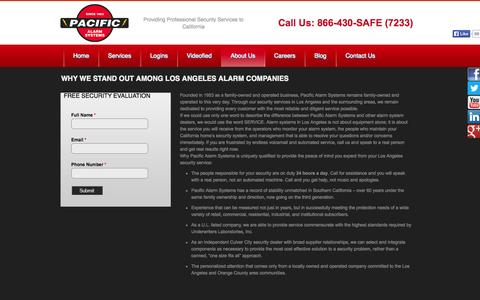 Screenshot of About Page pacificalarms.com - Premier Los Angeles Alarm Company | Pacific Alarms | Pacific Alarms - Residential & Commercial Security in Los Angeles & Long Beach - captured Sept. 26, 2014