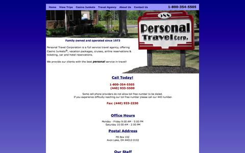 Screenshot of Contact Page personaltravelcorp.com - Personal Travel Corporation - captured Oct. 2, 2014