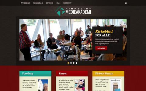 Screenshot of Home Page medieakademi.dk - Kirkeligt Medieakademi - foredrag og kurser om kirken i medierne - captured Oct. 6, 2014