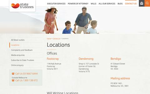 Screenshot of Locations Page statetrustees.com.au - Our Offices In Victoria | State Trustees VIC - captured Nov. 14, 2018