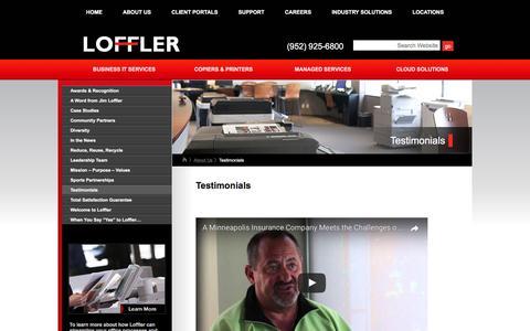 Screenshot of Testimonials Page loffler.com - Testimonials | Office Printers, IT Services MN | Loffler - captured March 26, 2017
