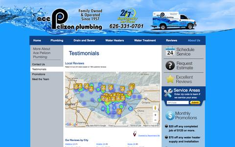 Screenshot of Testimonials Page acepelizon.com - Testimonials   Ace Pelizon Plumbing - captured Feb. 5, 2016