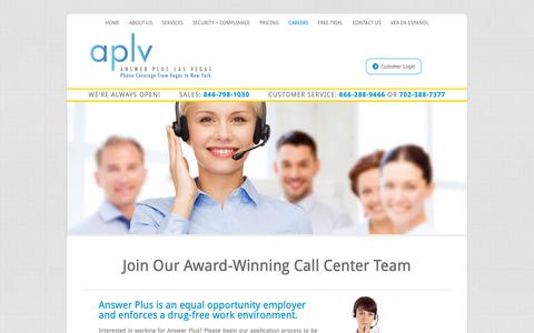 Screenshot of Jobs Page aplv.com - Careers | Answer Plus Las Vegas - captured Oct. 3, 2018