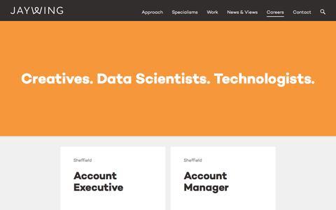 Screenshot of Jobs Page jaywing.com - Careers - captured Jan. 14, 2016
