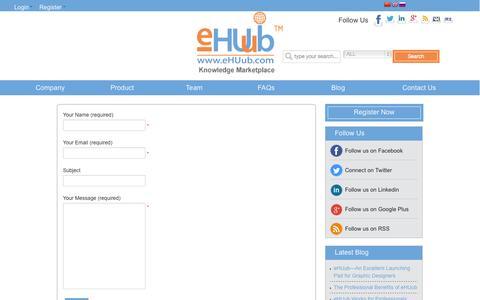 Screenshot of Contact Page ehuub.com - eHUub Contact US - captured Sept. 30, 2014
