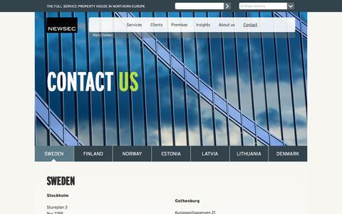 Screenshot of Contact Page newsec.com - Contact us - Newsec - captured Nov. 7, 2017