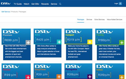 Screenshot of Products Page dstv.com - Products  | Self Service - captured Nov. 24, 2015