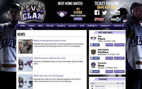 Screenshot of Press Page braeheadclan.com - Braehead Clan | Official Website - captured Sept. 30, 2014