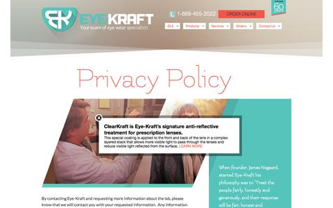 Screenshot of Privacy Page eyekraft.com - Privacy Policy | Eye Kraft - captured April 25, 2017
