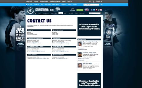 Screenshot of Contact Page carltonfc.com.au - Contact Us - carltonfc.com.au - captured Jan. 19, 2016