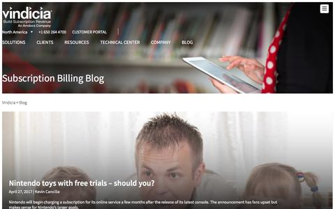 Screenshot of Blog vindicia.com - Subscription and Recurring Billing Solutions Blog | Vindicia - captured May 9, 2017