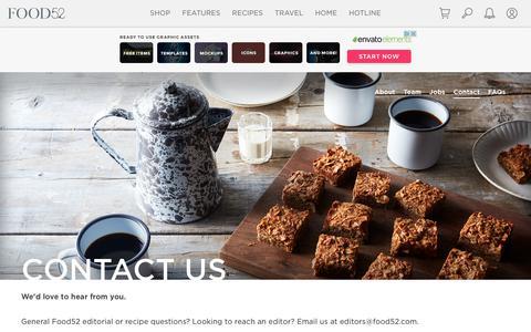 Screenshot of Contact Page food52.com - Contact Us - Food52 - captured Jan. 27, 2019