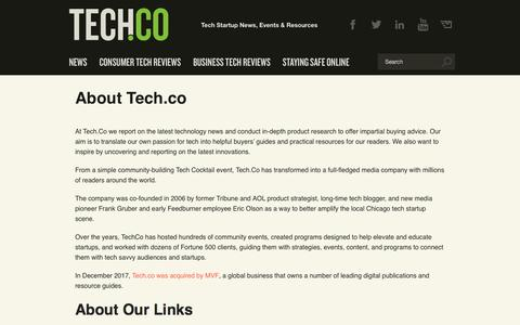 Screenshot of About Page tech.co - About Tech.co - captured Sept. 23, 2019
