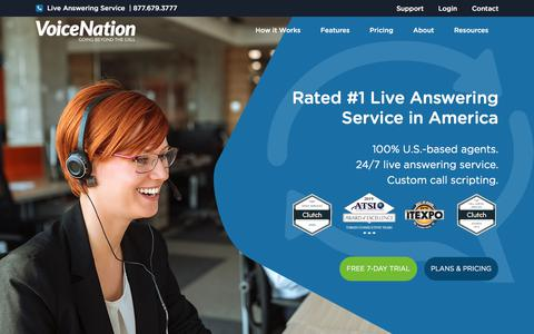Screenshot of Home Page voicenation.com - Answering Service | Virtual Receptionist | VoiceNation - captured Aug. 2, 2019