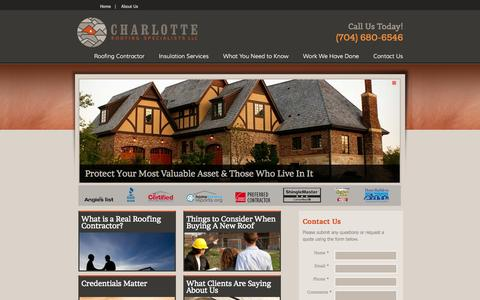 Screenshot of Home Page charlotteroofing.com - Charlotte Roofing Specialists - Experienced Charlotte Roofers - captured June 22, 2015
