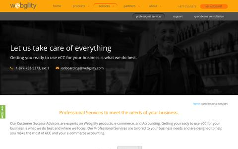 Screenshot of Services Page webgility.com - Professional Services: e-commerce Training Packages and Support - Webgility - captured July 16, 2015