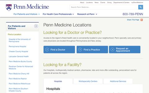 Screenshot of Locations Page pennmedicine.org - Penn Medicine Locations – Penn Medicine - captured July 3, 2016