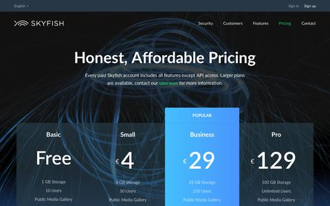 Screenshot of Pricing Page skyfish.com - An affordable and professional system for managing images - captured Oct. 20, 2018