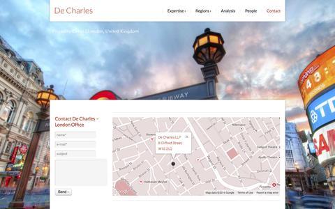 Screenshot of Contact Page decharles.com - Contact De Charles - De Charles - captured Oct. 5, 2014