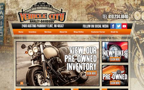 Screenshot of Site Map Page vehiclecityharley.com - Flint, Michigan, Harley-Davidson, Motorcycles, Dealer, Used,  Sportster®, Dyna®, Softail®, Touring, CVO™,  Financing, Service, Part, Directions, Event - captured Oct. 7, 2014