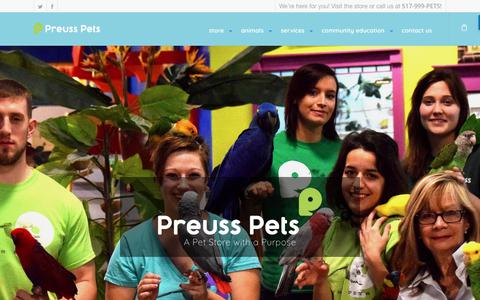 Screenshot of Home Page preusspets.com - A Pet Store with a Purpose | Preuss Pets in Lansing, MI - captured July 21, 2018