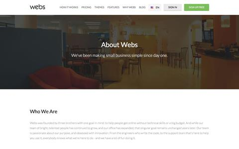 Screenshot of About Page webs.com - About Webs: Company Overview  | Webs - captured July 30, 2018