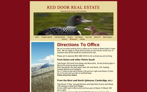Screenshot of Maps & Directions Page reddoorrealestatevt.com - Directions To Office | Red Door Real Estate - captured Oct. 1, 2014