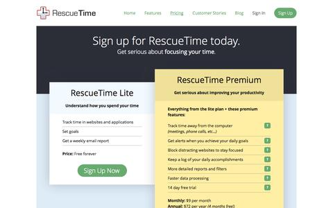Screenshot of Signup Page Pricing Page rescuetime.com - RescueTime : Plans & Pricing - captured Oct. 22, 2014