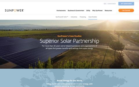 Screenshot of Case Studies Page sunpower.com - Commercial Solar Case Studies & Customer Reviews   SunPower - captured Oct. 23, 2016