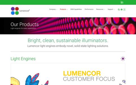 Screenshot of Products Page lumencor.com - Products - Lumencor, Inc.® - captured Feb. 1, 2016