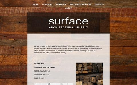 Screenshot of Locations Page surface-supply.com - Contact — Surface Architectural Supply - captured Oct. 7, 2014