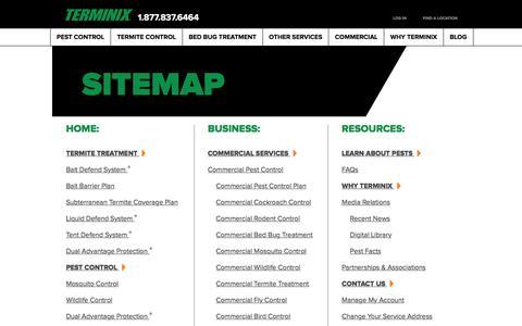 Screenshot of Site Map Page terminix.com - Sitemap   Terminix - captured Jan. 28, 2017