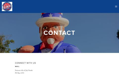 Screenshot of Contact Page fremont4th.org - Contact — Fremont 4th of July Parade - captured Oct. 11, 2018