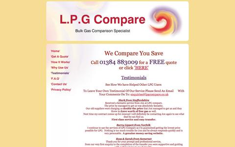 Screenshot of Testimonials Page lpgcompare.co.uk - LPG Compare - 'Testimonials' - captured July 14, 2018