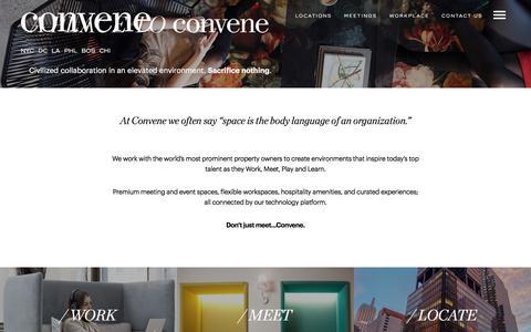 Screenshot of Home Page convene.com - (2) New Messages! - captured June 28, 2018