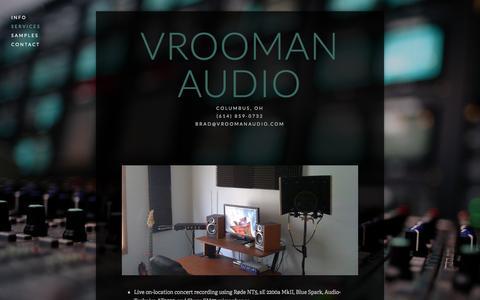 Screenshot of Services Page vroomanaudio.com - Services Ń Vrooman Audio - captured Jan. 11, 2016