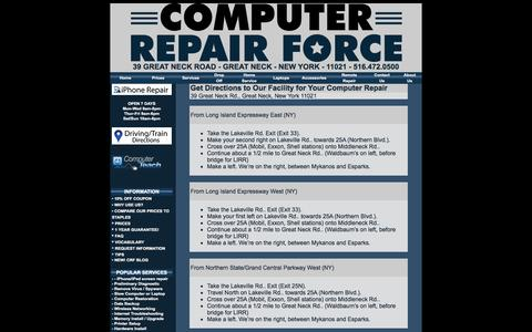Screenshot of Maps & Directions Page computerrepairforce.com - Directions to Great Neck & Long Island, New York Computer Repair - captured May 20, 2017