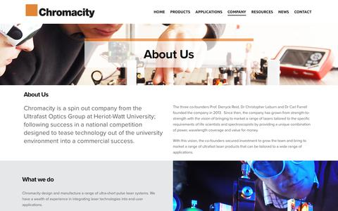 Screenshot of About Page chromacitylasers.com - Ultra-Short Pulse Laser Systems | About Us | Chromacity - captured Sept. 28, 2018