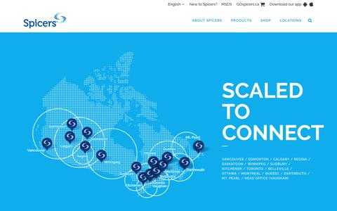 Screenshot of Locations Page spicers.ca - Locations - Scaled to Connect - 13 Warehouses Across Canada - Spicers Canada - captured Sept. 28, 2018