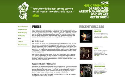 Screenshot of Press Page your-army.com - Your Army | PR / Print & Online - captured Feb. 14, 2016