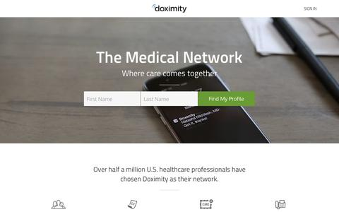 Screenshot of Home Page doximity.com - Physician's Network & Healthcare Directory for Doctors, NPs, PAs & RNs - captured Sept. 4, 2016