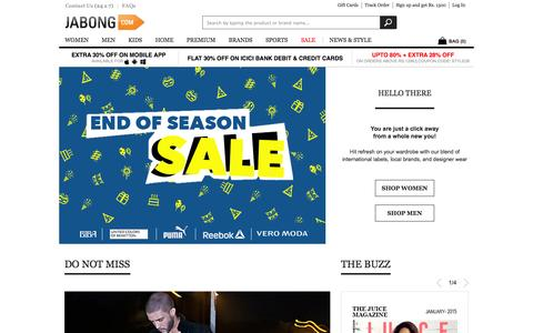 Screenshot of Home Page jabong.com - Online Shopping India: Shop Shoes, Clothing, Bags, Watches Online in India - captured Jan. 15, 2015