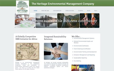 Screenshot of Home Page heritagesa.co.za - Heritage Environmental Management and Certification - captured Sept. 28, 2018
