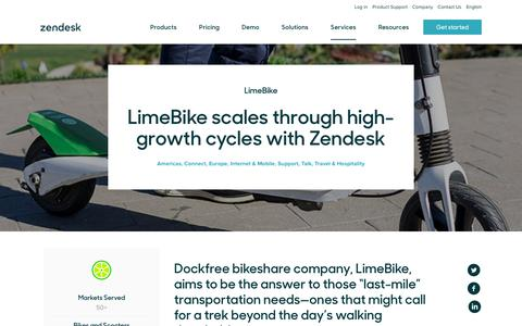 Screenshot of Support Page zendesk.com - LimeBike Customer Service Story | Zendesk - captured Aug. 4, 2018