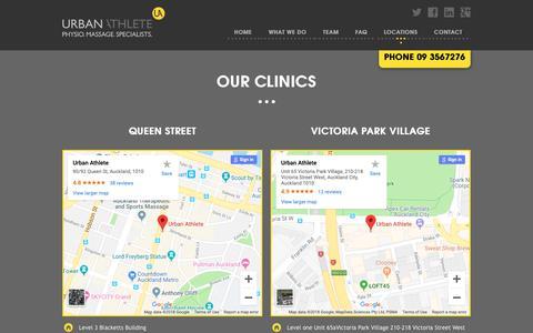 Screenshot of Locations Page urbanathlete.co.nz - Auckland Physio Treatment Clinics | Urban Athlete - captured Oct. 18, 2018