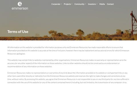 Screenshot of Terms Page emmersonresources.com.au - Emmerson Resources: Terms of Use - captured Dec. 14, 2018