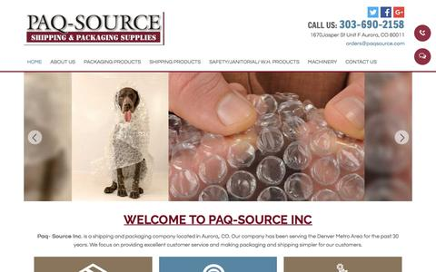 Screenshot of Home Page paqsource.com - Packaging Products- Denver,CO- Paq-Source Shipping & Packaging Supplies - captured July 13, 2017