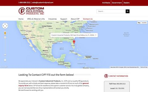 Screenshot of Contact Page customindprod.com - Contact Us | Custom Industrial Products, Inc. - captured Oct. 3, 2014
