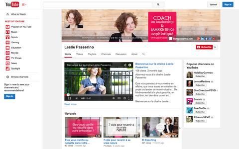 Screenshot of YouTube Page youtube.com - Leslie Passerino  - YouTube - captured Oct. 22, 2014