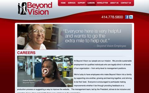 Screenshot of Jobs Page beyondvision.com - Careers - captured Oct. 5, 2014